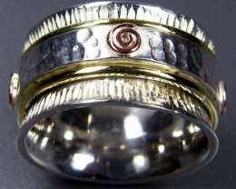 COPPER BRASS HAND ETCHED SILVER RING SIZE 6.5 GTJA665