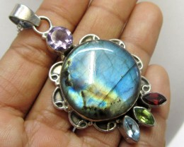 Labradorite and Gemstone Pendant   MJA 278