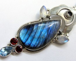 Labradorite and Gemstone Pendant   MJA 280