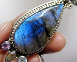 Labradorite and Gemstone Pendant   MJA 281