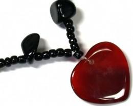 NEW TRIBAL BLACK AGATE  HEART NECKLACE    TR67