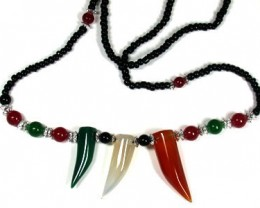 NEW TRIBAL TIGER TEETH  AGATE   NECKLACE    TR70