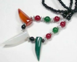 NEW TRIBAL TOOTH SHAPE AGATE NECKLACE    TR84