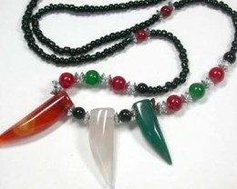 NEW TRIBAL TOOTH SHAPE AGATE NECKLACE    TR93