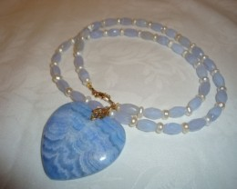 BLUE LACE AGATE NECKLACE WITH HEART PENDANT
