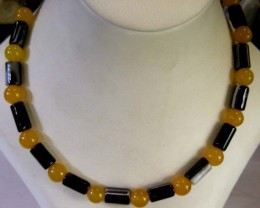 CYLINDER N YELLO AGATE NECKLACE  BEAD STRAND   11 149