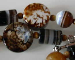 BEAUTIFUL NATURAL COFFEE AGATE NECKLACE 65CMS.