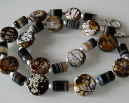 BEAUTIFUL NATURAL COFFEE AGATE NECKLACE 56 CMS