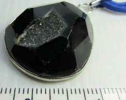 BLACK CRYSTAL DRUSY AGATE  PENDANT   QT380