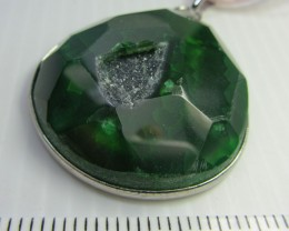 GREEN CRYSTAL DRUSY AGATE  PENDANT   QT382