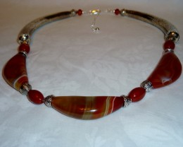 18 IN TO 21 IN BOTSWANA AGATE & STERLING SILVER NECKLACE