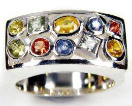 PARTY SAPPHIRES IN STERLING SILVER RING SIZE 7.5   GTJA44