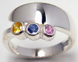 PARTY SAPPHIRES IN STERLING SILVER RING SIZE 8.5  GTJA 58