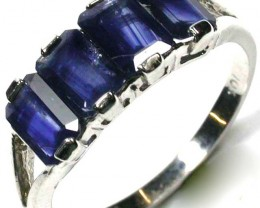 free shipping NATURAL SAPPHIRE 10K WHITE GOLD RING SIZE 7 ~ 7 1/2 GTJA245