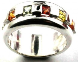 PARTY SAPPHIRES IN STERLING SILVER RING SIZE  7 1/2 GTJA405