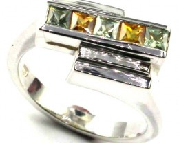 PARTY SAPPHIRES IN STERLING SILVER RING SIZE 7 1/2 GTJA406