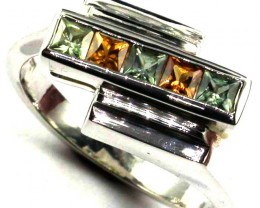 PARTY SAPPHIRES IN STERLING SILVER RING SIZE 8 1/2  GTJA408