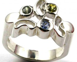 PARTY SAPPHIRES IN STERLING SILVER RING SIZE 9  GTJA415