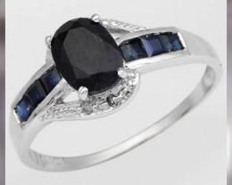 Blue Sapphires,White Diamonds,10KT Gold ~ Size 7 & Beautiful