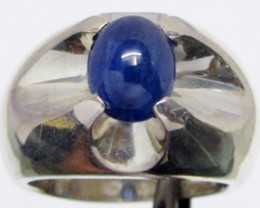 Sapphire set in Heavy Silver Ring  size  8.5 MJA 546