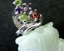 JADE SILVER PENDANT +5 NATURAL STONES 43 CTS [GT1302 ]