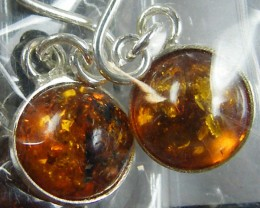 PARCEL  3 AMBER   STERLING SILVER  EARRINGS MYT 588