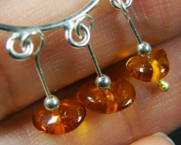 AMBER CLUSTER   STERLING SILVER EARRINGS     MYT676
