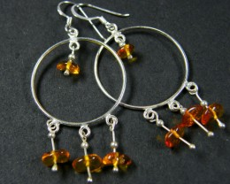 AMBER CLUSTER   STERLING SILVER EARRINGS     MYT677