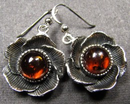 FLOWER DESIGN SILVER SHEPPARD HOOK AMBER EARRINGS MYG 501