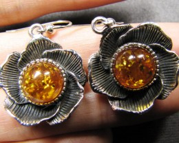 FLOWER DESIGN SILVER SHEPPARD HOOK AMBER EARRINGS MYG 503