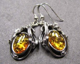 BALTIC AMBER SILVER EARRINGS 44  TCW  MYG 752