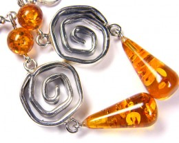 LARGE  BALTIC AMBER SILVER  EARRINGS  82 TCW  MYG 1056