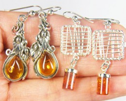 TWO BALTIC AMBER SILVER  EARRINGS 64 TCW  MYG 1071