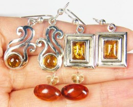 THREE  BALTIC AMBER SILVER  EARRINGS 62 TCW  MYG 1079