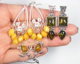 THREE  BALTIC AMBER SILVER  EARRINGS   TCW  MYG 1082