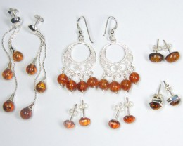 SIX BALTIC AMBER SILVER  EARRINGS 78 TCW  MYG 1083