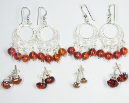 SIX BALTIC AMBER SILVER  EARRINGS 80 TCW  MYG 1090