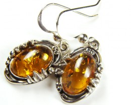 BALTIC AMBER SILVER PENDANT AND EARRING TCW  58.9  MYG263