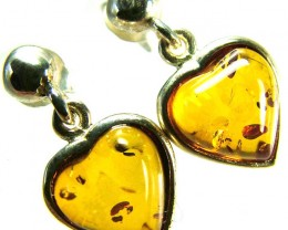 BALTIC AMBER EARRINGS SILVER 10.80 CTS [SJ519]