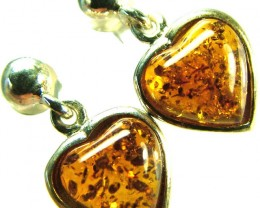 BALTIC AMBER EARRINGS SILVER 11.05 CTS [SJ521]