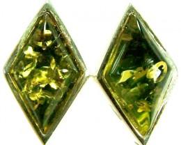 GREEN AMBER EARRINGS -POLAND 10.60 CTS [SJ502]