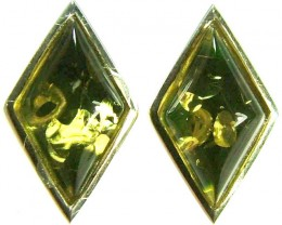 GREEN AMBER EARRINGS -POLAND 10.55 CTS [SJ503]