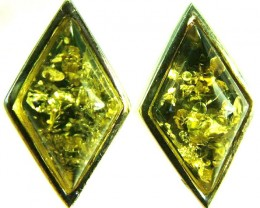 GREEN AMBER EARRINGS -POLAND 10.40 CTS [SJ504]