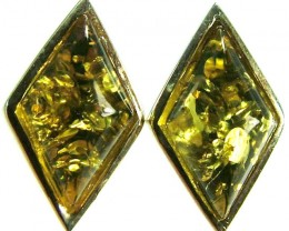 GREEN AMBER EARRINGS -POLAND 10.90 CTS [SJ505]