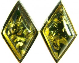 GREEN AMBER EARRINGS -POLAND 10.65 CTS [SJ506]