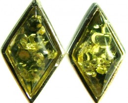 GREEN AMBER EARRINGS -POLAND 11.05 CTS [SJ508]