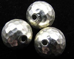 THAI HILL  TRIBE SILVER FACETED BEADS  49.2 25CARATS GGR 93