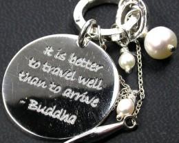 BUDDAH WORDS WISDOM PEARL SILVER  PENDANT GTJA 184