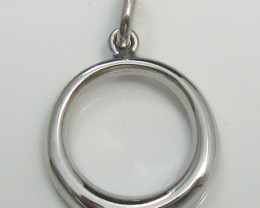 O Stylised Pendant/Charm, 2D, solid Sterling Silver 925