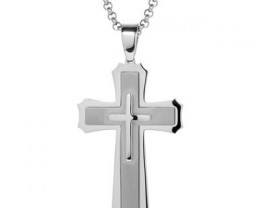 NEW - 202.55 CTW MENS CROSS NECKLACE WITH CHAIN